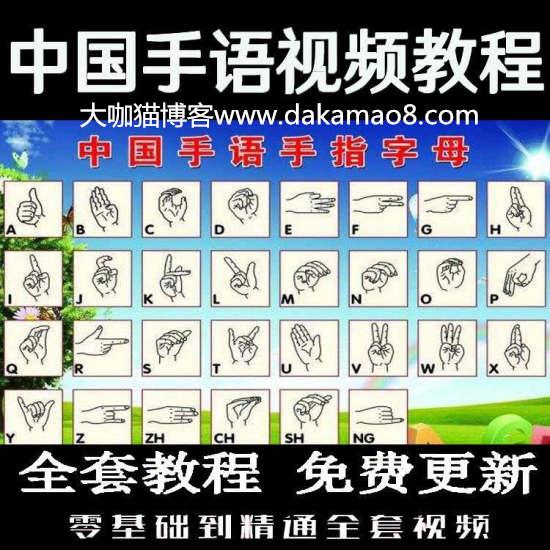 中国手语教材日常会话聋哑人哑语手势自学零基础入门精通视频教程